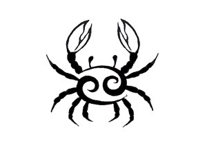 Cancer's zodiac symbol.