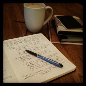 Scribbling away at my writing group!