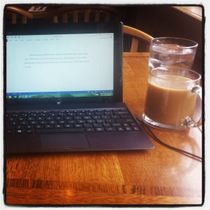 Writing my heart out in a lovely cafe!
