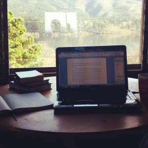 Working on my novel at a weekend writing retreat at the Oregon Coast, a stunning lake as my inspirational view!