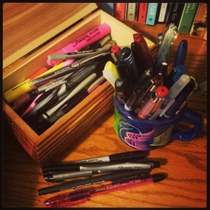 Some of the many... many handfuls, cups, and boxes full of pens scattered throughout my house.